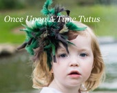 Green Brown Feather Hair Clip - Boa HairBow - Toddler Baby Fascinator Little Girls Hair Bow - Mallard Duck Halloween Costume Hair Accessory