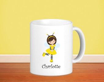 Honey Bee Kids Personalized Mug - Honey Bee Girl with Name, Child Personalized Ceramic or Poly Mug Gift