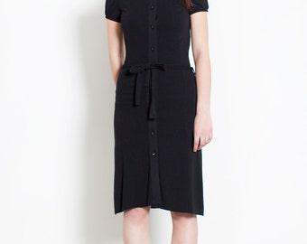 Chemisier black Dress // 90s // S size