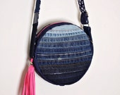 Upcycled Denim Crossbody Bag Zippered Canteen with Tassel Striped Ombre Handmade Unique Purse