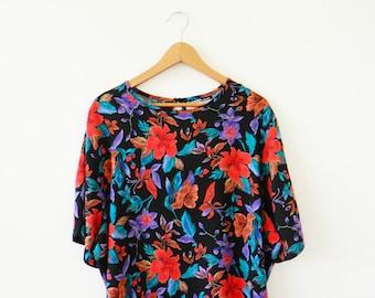 Vintage Black Floral Blouse / Oversized Boxy Floral Blouse / Bold Statement Floral Blouse / Boho Floral Top