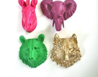 Set of 4 ANY COLOR Combination Choose from 6 small faux animal heads: small bear wolf zebra elephant tiger or lion Faux Taxidermy wall decor