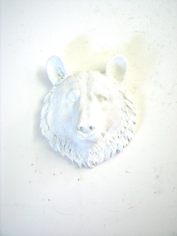 SALE! Faux Taxidermy Small Bear Head wall mount in WHITE: Bob the Bear / mini / kids room decor / woodland / modern nursery / white animal