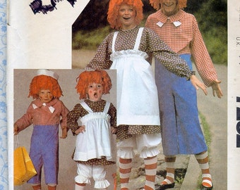Raggedy Ann & Andy Costume Sewing Pattern Kids Size 6 to 8 Chest 25 26 27 McCalls 7232 Vintage Childrens Halloween Sewing Patterns UNCUT