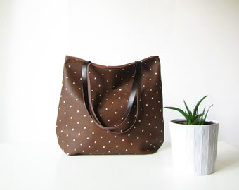 Vegan Leather Dotted Tote bag, Casual Tote Bag, Brown tote, Polka dots, Printed Leather Bag