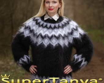 Made to order Icelandic hand knit mohair super fuzzy sweater, black crewneck handmade pullover by SuperTanya