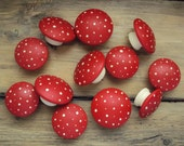 "Hand Painted Mushroom Furniture Knobs - Wooden Dresser Drawer Knob - Decorative Fairy Door Knob - Wood Polka Dot Cupboard Knob - 1 3/4"" Knob"