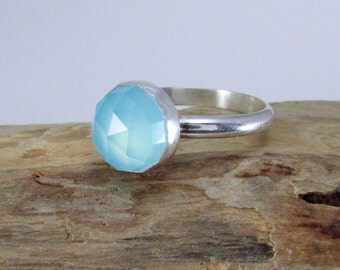 Blue Chalcedony Ring - Sterling Silver Ring - Blue Gemstone Ring - Cocktail Ring