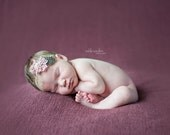 Mauvelous Possibilities - headband in a dusty pink mauve lace with feather and pearl cluster center