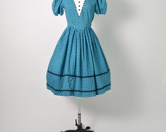 Vintage 1950s 50s Cotton Dress with Full Skirt and Ric Rac Peasant Grand Ole Opry