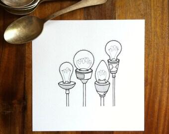 original artwork - 'reach' - hand drawn lightbulbs illustration - light bulb drawing in simple black and white