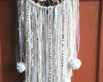 Cream and White pom pom, Dreamcatcher,Vintage Doily dreamcatcher, Wall art, Wallhanging, Yarn art