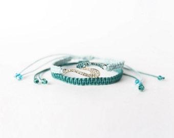 Stackable friendship bracelets Macrame bracelets Woven Beaded bracelet Summer jewelry Beach jewelry Aqua green blue crystals
