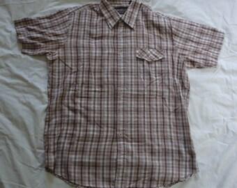 Vintage Gimbels Short Sleeve Plaid Button Down Shirt. Men's Large.