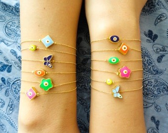 Evil eye bracelet, neon evil eye jewelry, turkish accessories, butterfely bracelet birthday goodie bag gift idea for girls bachelor