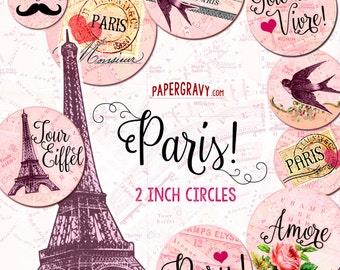 Paris Theme Printable 2 inch Circles Instant Download