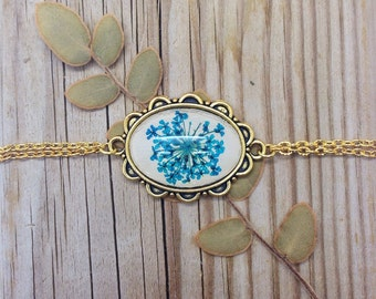 Blue bracelet, gifts for mom, Pressed flower bracelet, real fower jewelry, nature lover gift, real flower bracelet, nature jewelry unique