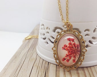 mothers day gift ideas, dried flower necklace, bridesmaid gift, real flower jewelry, unique necklace, handmade gifts, golden cameo, nature