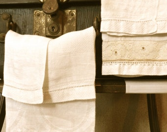 Vintage Linens Tea Towels.Guest Room.Upcycled.Embroidered.Hand Stitched Hand Towels.Napkins.Shabby Chic Cottage Decor