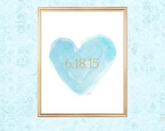 Light Blue Wedding, Aqua Bridal Shower Gift, Aqua Wedding Decor, Aqua and Gold Wedding, Wedding Date, Wedding Date Print, Aqua Bridal Gift