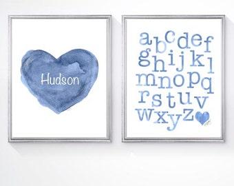 Boy Nursery, Toddler Room Decor, Alphabet Print, Set of 2 - 8x10 Prints, ABC Nursery, Blue Alphabet, Blue Nursery Art, abc's, Playroom Art