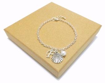 Shell Bracelet, Bridesmaid Gift, Bridesmaid Shell Jewellery, Bridesmaid Bracelet, Shell Charm Bracelet, Beach Jewellery, Beach Wedding