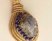 Lapis Pendant Necklace, Wire Wrapped Jewelry Handmade, Heady Wire Wrapped Pendant, Jewelry Necklace, Jewelry Affaire