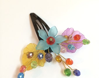 Flower Girl Hair Clip, Hair Clip Flower, Hair Clip, Hair Clip Girl, Hair Accessories, Colorful Flower Girl Headpiece, Flower Girl Hairpiece