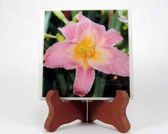 Lily Pink and Yellow Handmade Photo Coaster, FI0074