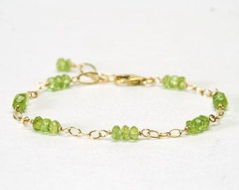 Genuine Peridot Bracelet - Dainty Gemstone Bracelet - Gold Filled Chain and Link Bracelet - Peridot Jewelry, August Birthstone