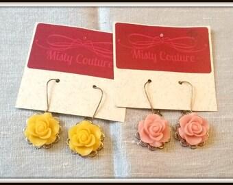 Pastel Pink Rose Silver Tone kidney Wire Earrings