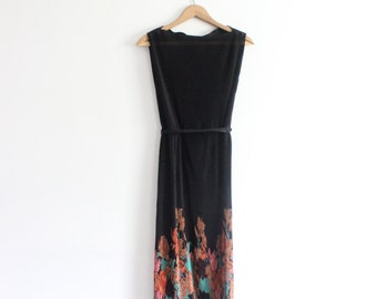 Pleated 70s Sheer Floral Midi Dress