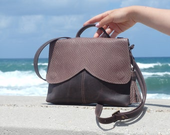 Brown women leather bag, tote bag, brown handbag,purse,clutch,wristlet