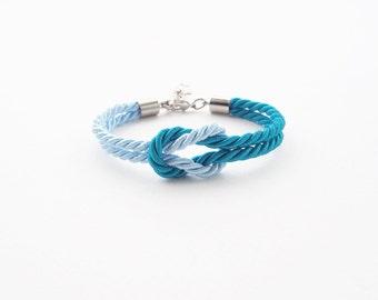 Sailor knot bracelet - beach bracelet - light blue - sea blue - nautical bracelet - bridesmaid bracelet - beach jewelry