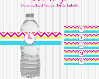 Flamingo Chevron Printable Personalized WATER BOTTLE Labels by Marbella Printables