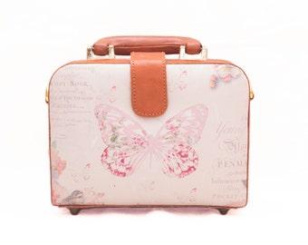 Brown Square Leather Bag, Butterfly, Summer Bag, Canvas Bag, Brown Leather Bag, Leather Bag, Leather Briefcase, Crossbody Bag, Shoulder Bag