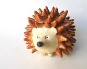 Hedgehog Figurine, Handmade Hedgehog Sculpture, Animal Lover Gift, Interior Designer Decor, Woodland Animal Sculpture Rattle, Animal Statue