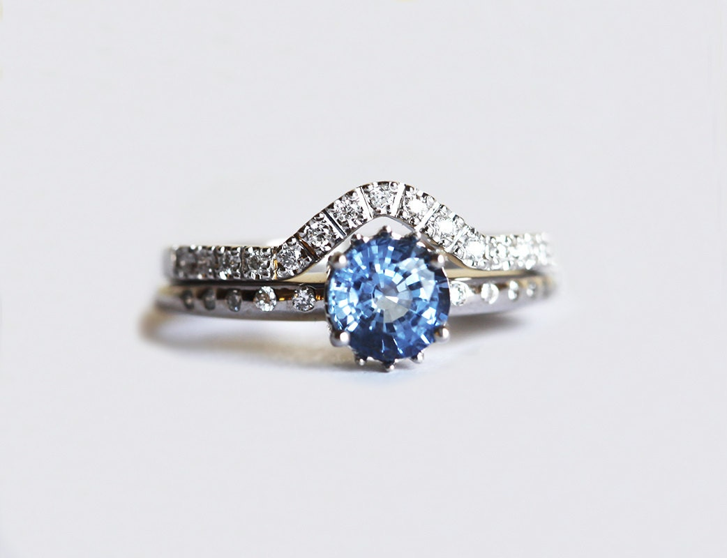 Blue Sapphire Engagement Ring Round Sapphire Ring Solitaire