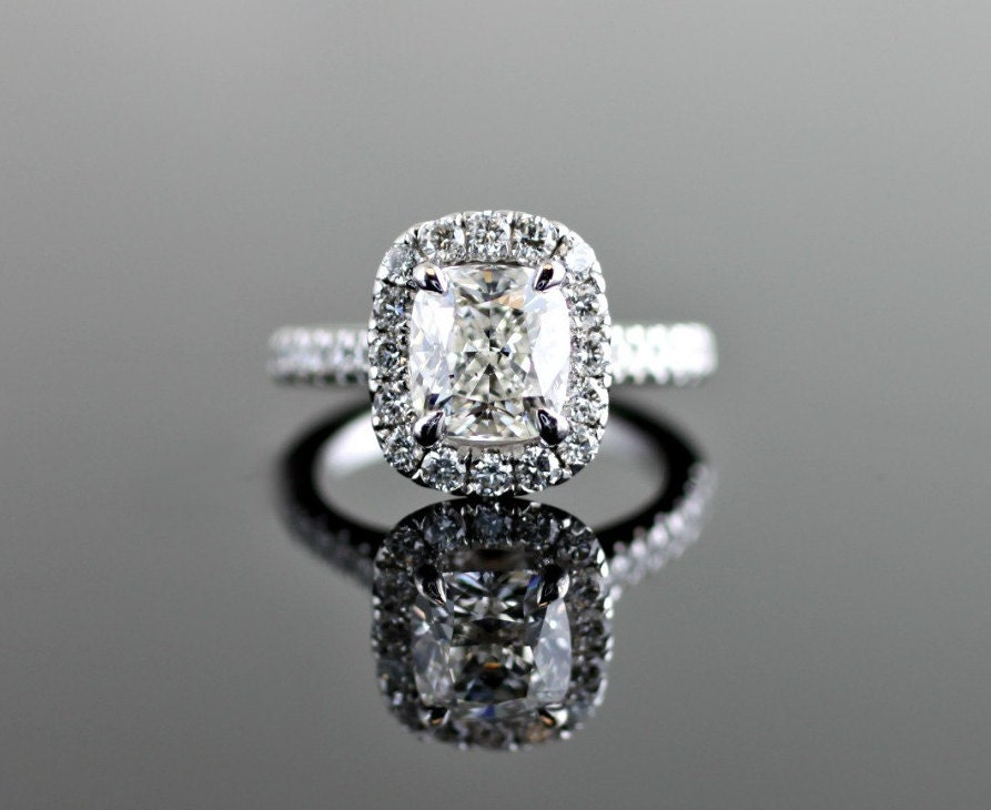 Elongated Cushion Halo Engagement Ring with V