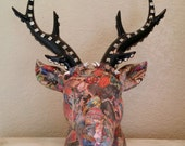 Tattoo Art Decoupaged Ceramic Deer Head Faux Taxidermy Animal Head with Spikes and Studs