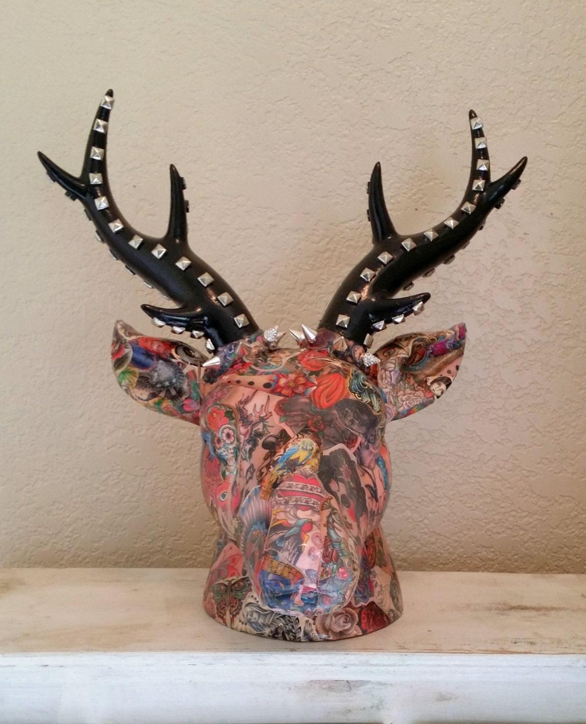 Tattoo Art Decoupaged Ceramic Deer Head Faux Taxidermy Animal