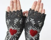 MADE TO ORDER in 4-6 weeks after payment plus shipping terms, Knitted Fingerless Gloves, Gloves & Mittens, Gift Ideas, Dark Grey, Heart