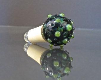Handmade Glass Wine Bottle Stopper - Dark Green with Bright Green Slyme Bumps