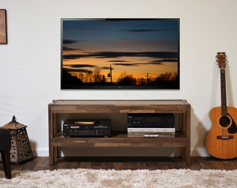 rustic reclaimed wood tv stand pallet barn wood style center presearth spice
