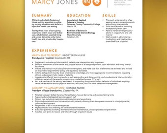 Nurse Resume Template,Includes Extra Page, Microsoft Office and Indesign, Orange, Gray- JONES