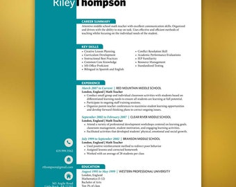 Resumes | Teacher Resume Template | 3 Pages | Microsoft Word | Teal, Turquoise CV | THOMPSON