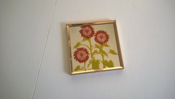 Vintage Sunflower Wall Decor : Vintage sunflower mirror wall decor shelf by
