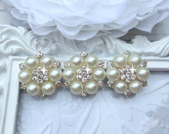 Pearl Rhinestone Flat Back Hair Accessories Supplies Wedding Invitation Supplies - 1 Inch - Hair Bow Supplies - Round Pearl Flatback