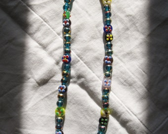 Holiday Sale! -- 50% off!! - Dragonfly River - Colorful, Gilded Glass Bead Necklace