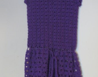 Purple Crochet toddler dress.